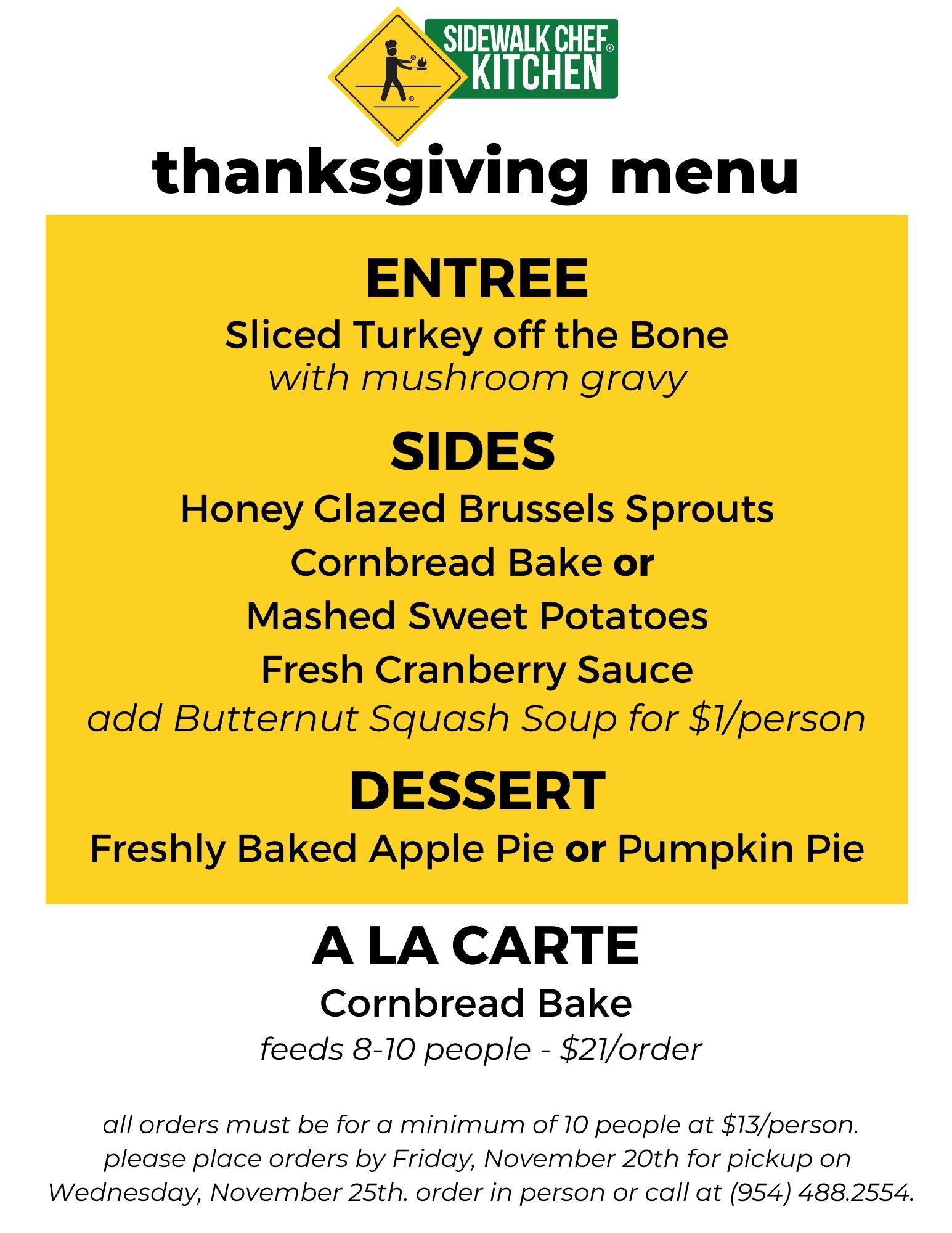 Thanksgiving Catering at Sidewalk Chef Kitchen