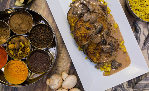 Traditional Indian spread with eggplant planks
