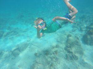 Boy snorkeling in Aruba