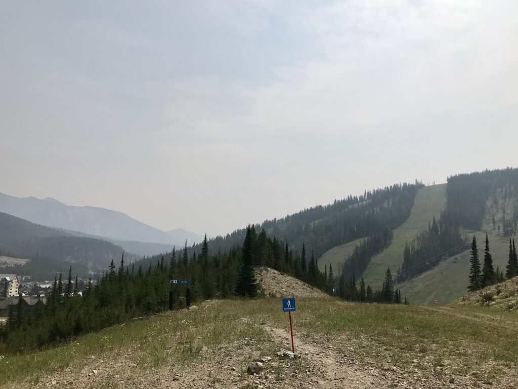 Hiking down from Explorer Lift in Big Sky