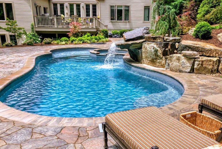 Custom Pool & Spa With Waterfall