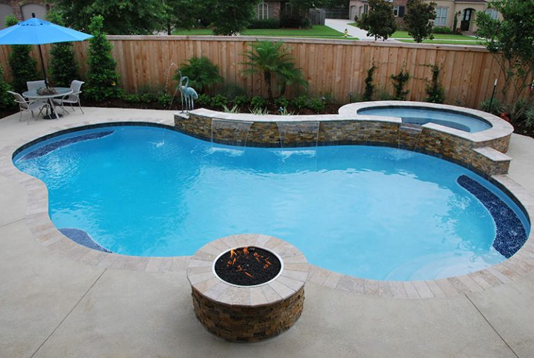 Custom Free Form Pool With Firepit