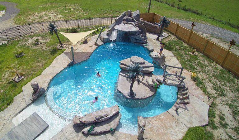 Custom Family Pool With Island