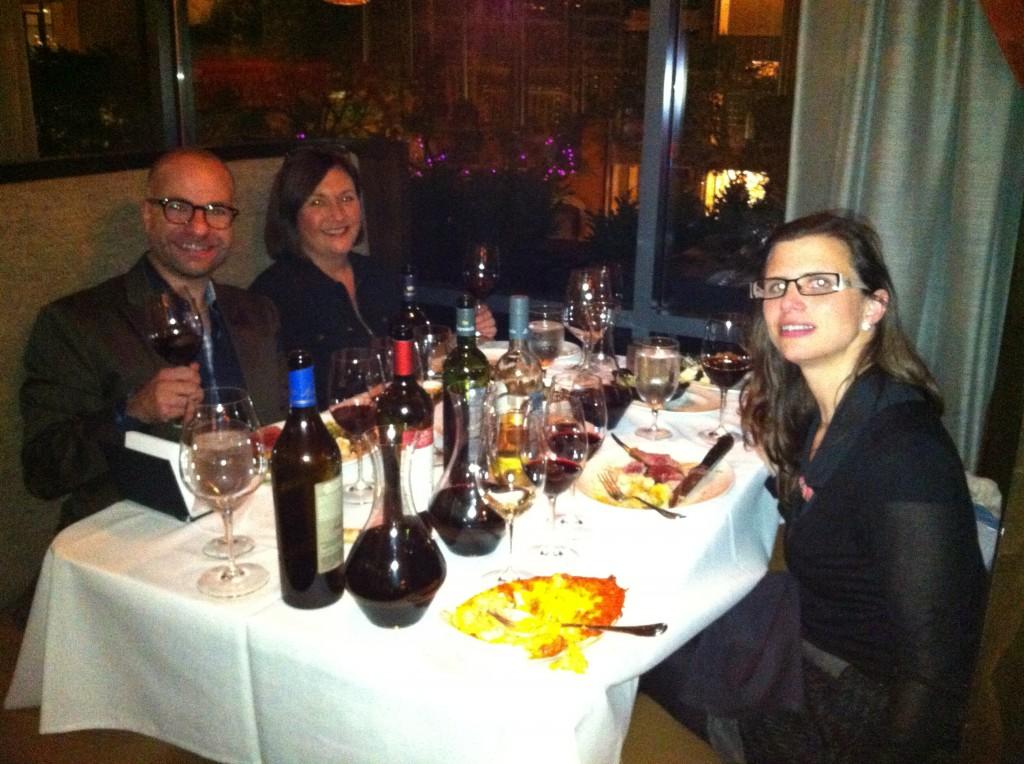 The author, Liz Barrett and Andrea Leon Iriarte at Del Frisco's in Chicago