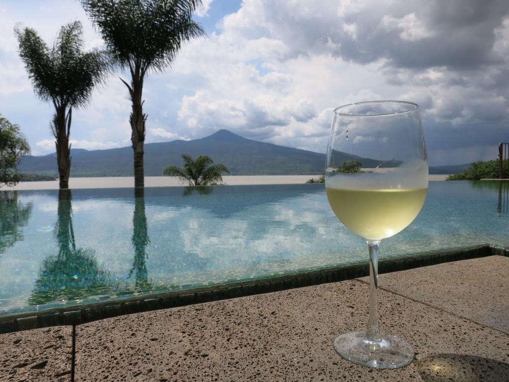 Poolside Sauvignon Blanc at the gorgeous Hacienda Ucazanaztacua on Lake Patzcuaro in Michoacan, Mexico