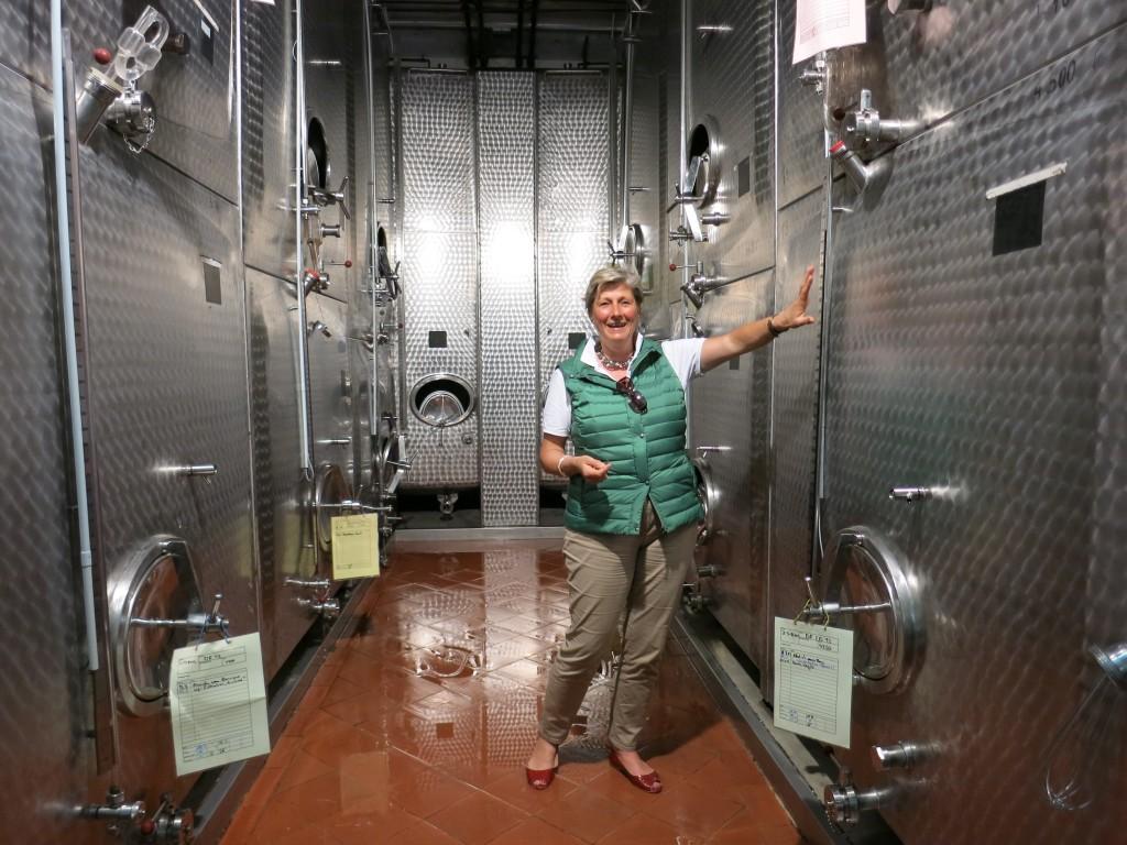 Alexandra Prinzessin zur Lippe among Schloss Proschwitz's custom-designed fermentation tanks
