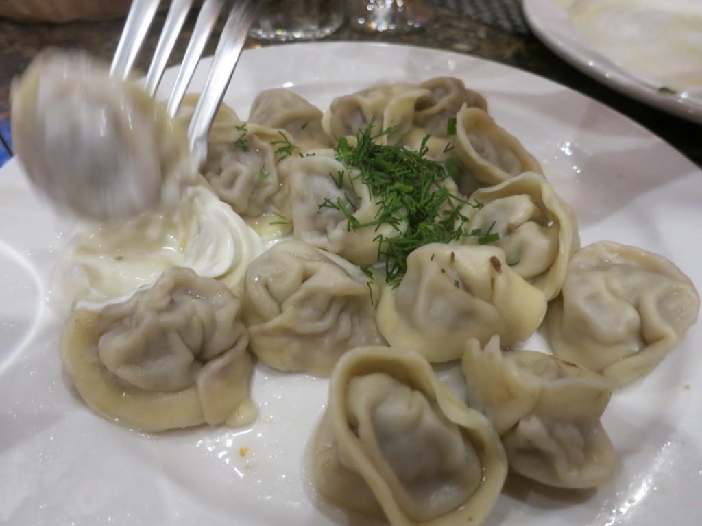 Pelmeni dumplings at Jibek Jolu