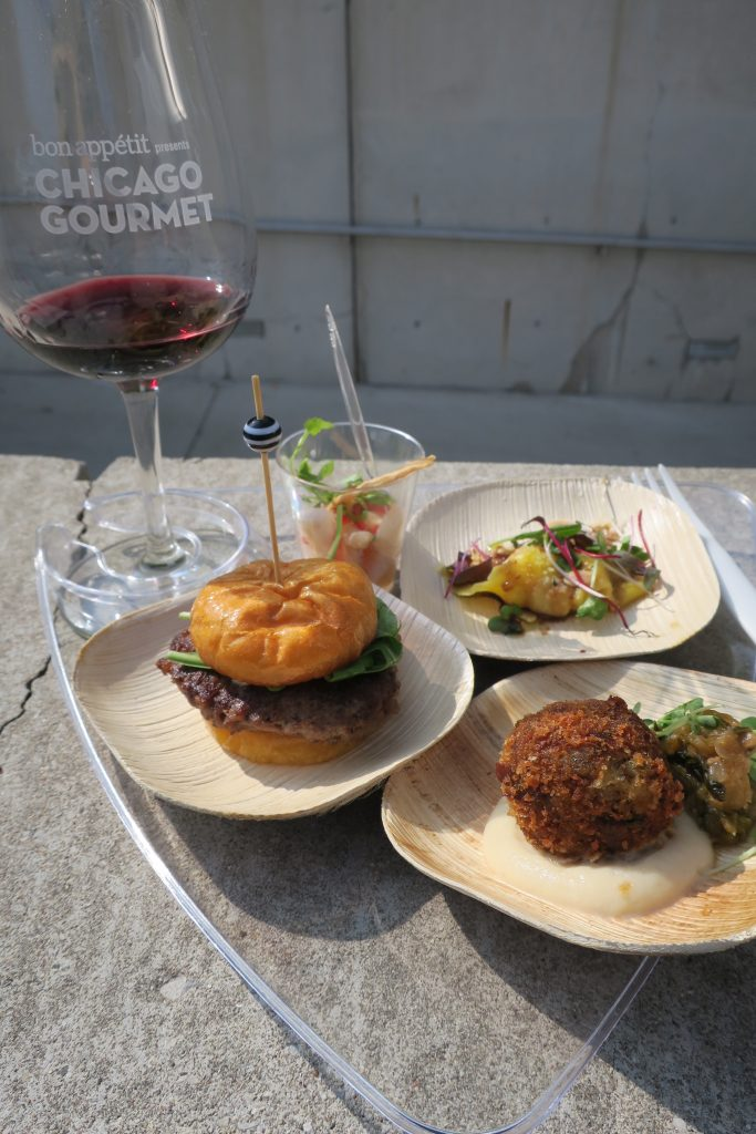 Agnolotti, crudo, burger and pork croquette at Chicago Gourmet