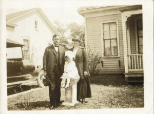 This photo is of my Mom- Edna Irene Sandstrom and my grandparents, O.W. Sandstrom and Betty Signe (Bengston) Sandstrom in front of their home at 1903 Red River in the Historic neighborhood of Swede Hill. This old, historic Swede Hill home at 1903 Red River is no longer there.