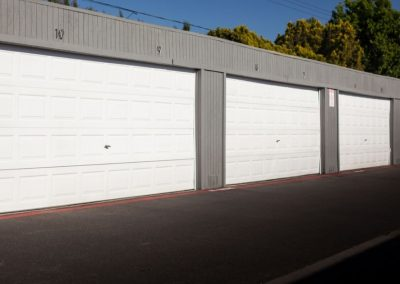 Parking garages with white doors