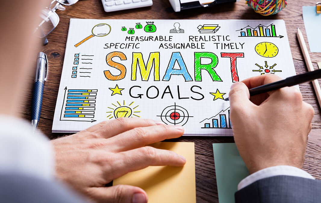 Smart Goals infographic with man drawing