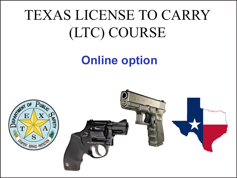 Slide of LTC online class overview to handguns and color Texas illustration