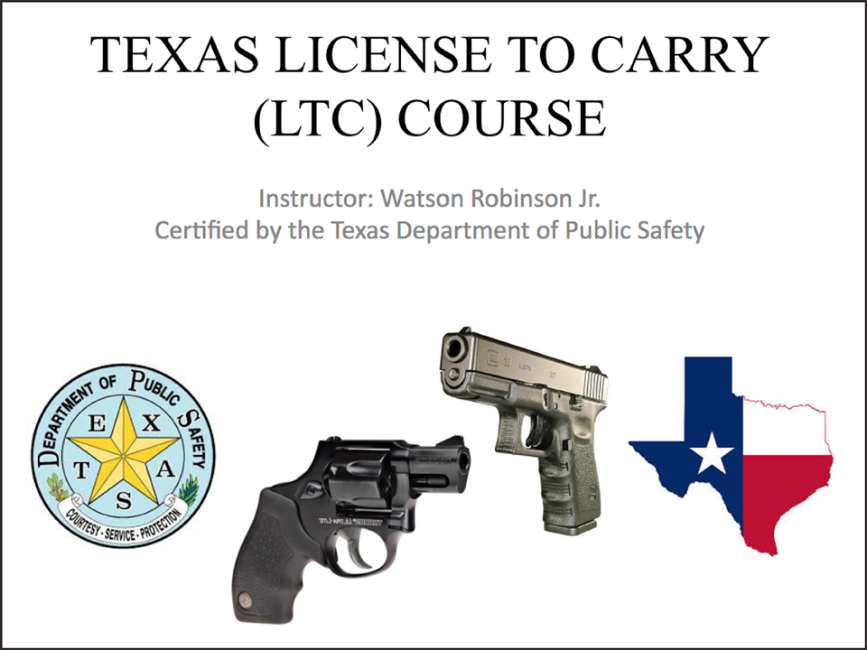Slide of LTC overview to handguns and color Texas illustration