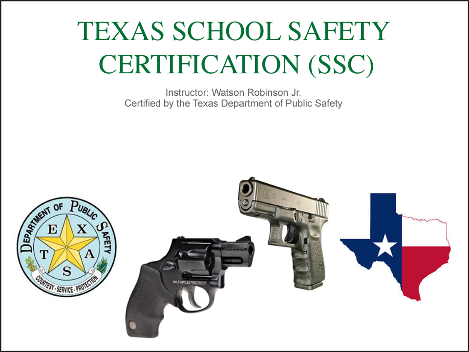 Slide of SSC class overview of handguns and color Texas illustration