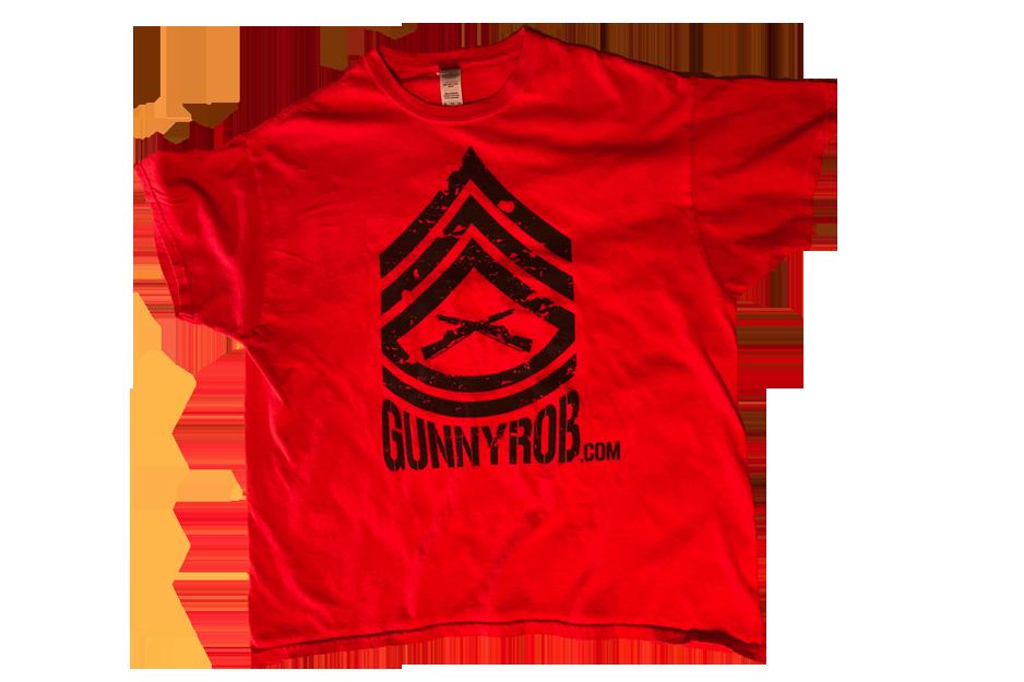 red t-shirt with large black gunny marine logo