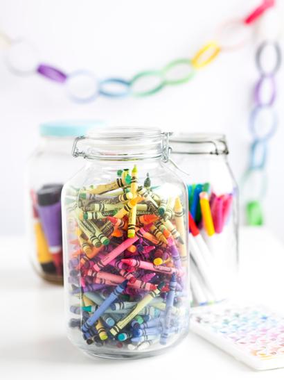 Crayons in Jars at Wedding