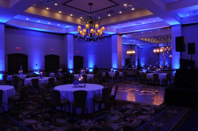 Blue uplights for wedding