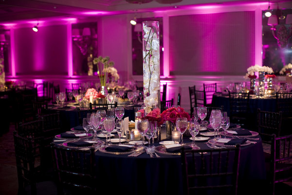 Reception lighting for weddings and events - Lavender Uplighting