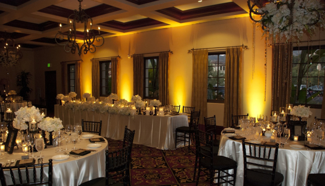Yellow and Gold Reception upLighting for Weddings and Events