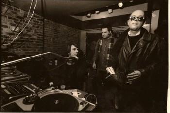 Rob with The Hound (far left), WFMU studio