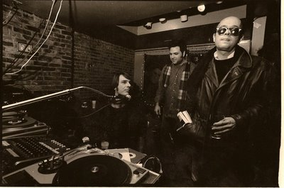 Rob with The Hound (far left), WFMU studio