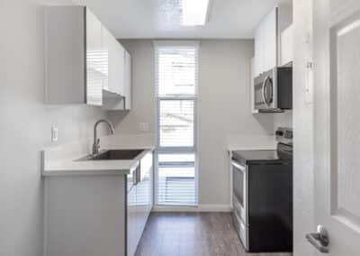 Black and white kitchen with windows