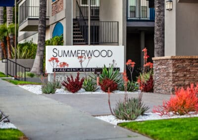 Summerwood apartment homes entrance with plants