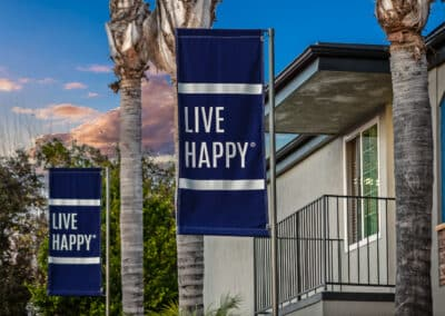 Live happy blue banner