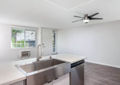 Stainless Steel Sink in the Kitchen with view into empty living room