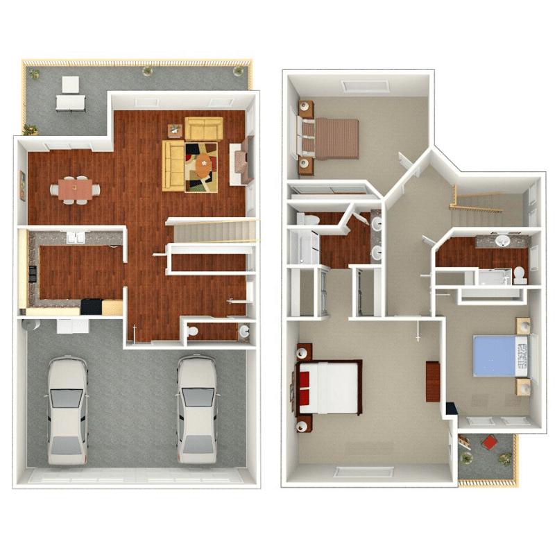 3 BEDROOM, 2.5 BATHROOM VILLA Floor plan