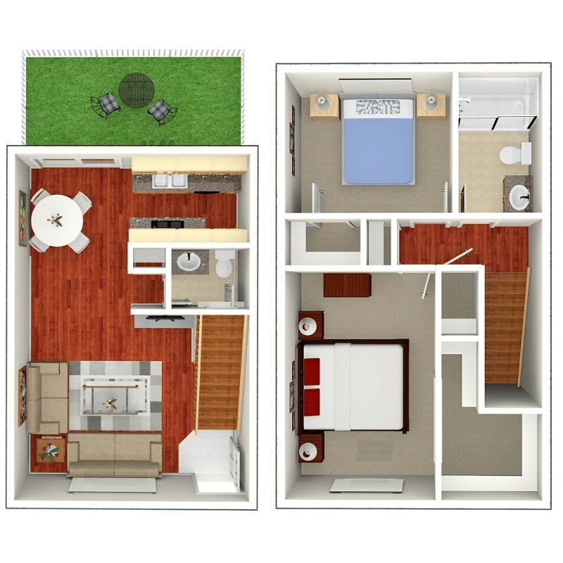 2 BEDROOM, 1.5 BATHROOM Floor plan