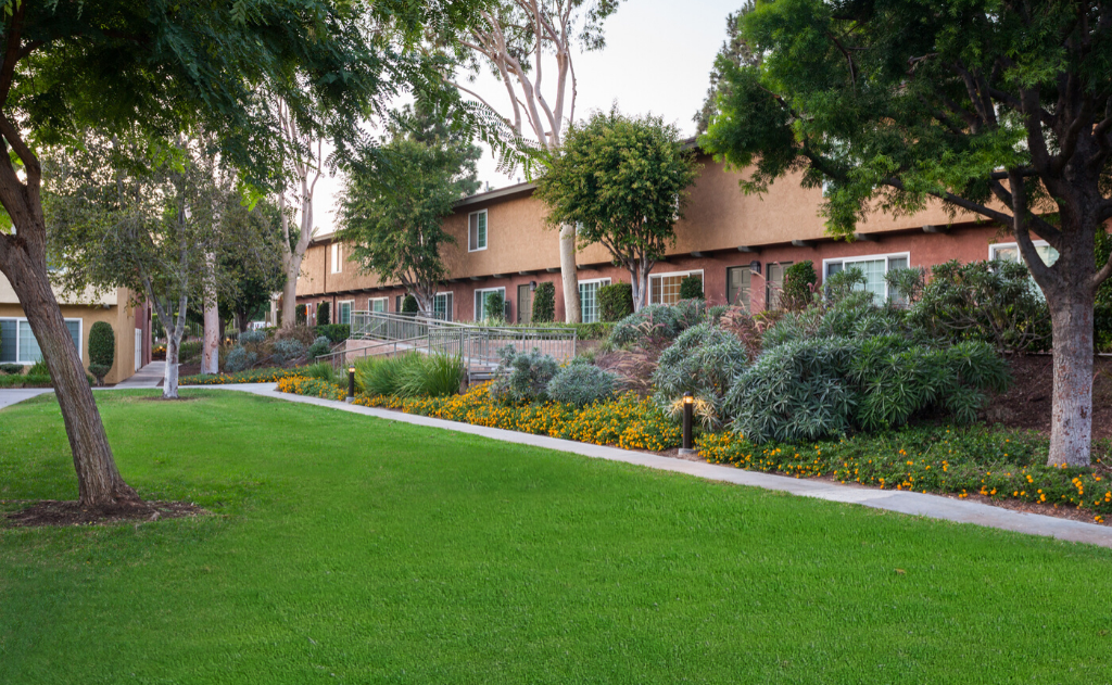 Yorba Pines garden area with pathway
