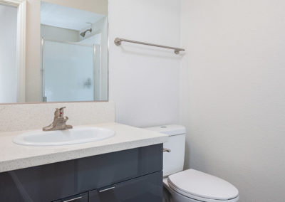 Bathroom sink next to toilet