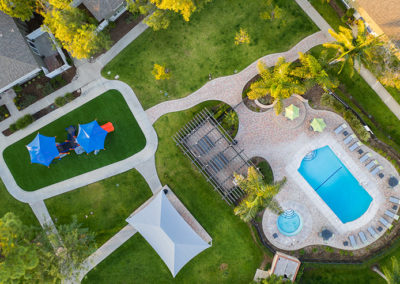 Aerial View of Yorba Linda Pines Apartments with pool and playground
