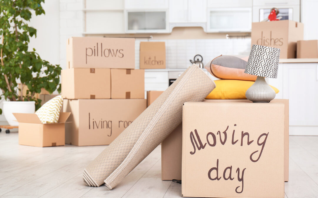 Moving,Boxes,And,Household,Stuff,In,Kitchen.,Space,For,Text