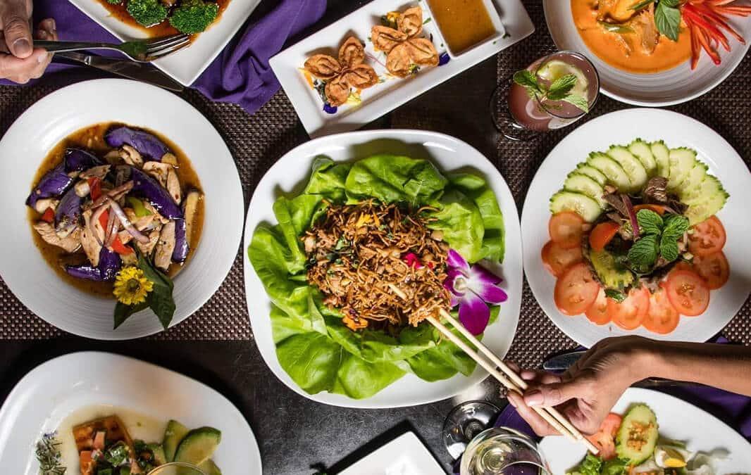Thai food spread