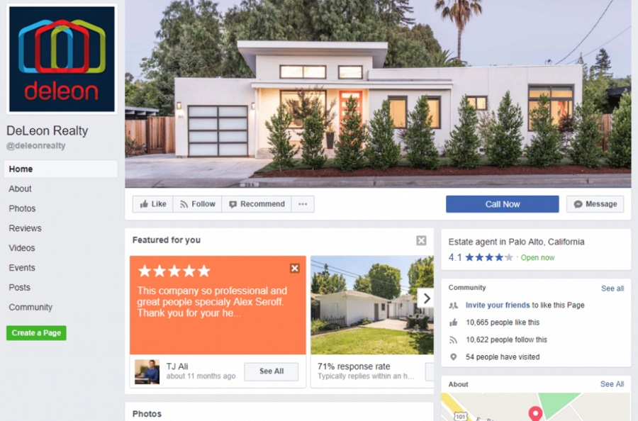 Real Estate Facebook Page Example