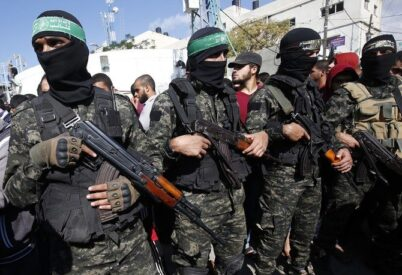 Armed Hamas fighters. Photo courtesy of the Arab News