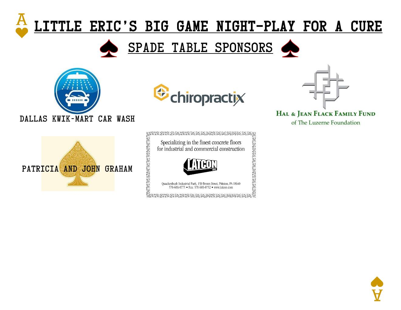 500 Spade Sponsor Board 2021