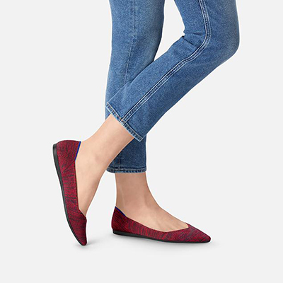 Rothy's Shoes 20% Teacher Discount - Crimson Heather point shoes