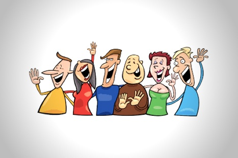 Cartoon group of men and women laughing and smiling