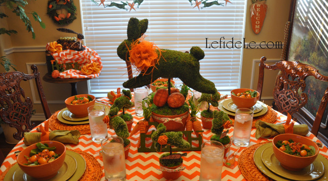 Leaping Bunny Topiary Spring Indoor Garden Party Décor Ideas for Easter or even Showers, Luncheons, & Brunches