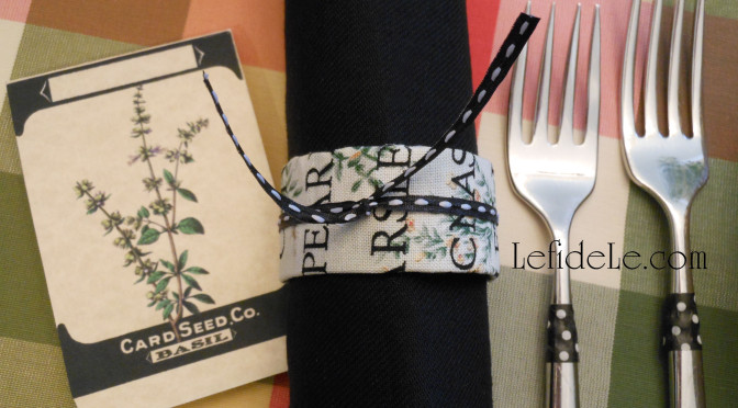 DIY Herb Garden Fabric Napkin Rings Craft, Free Basil Seed Card Printables (Invitations, Place-cards, Food Tents, Menus, Herb Markers) & How to Customize a Table Setting with Washi Tape