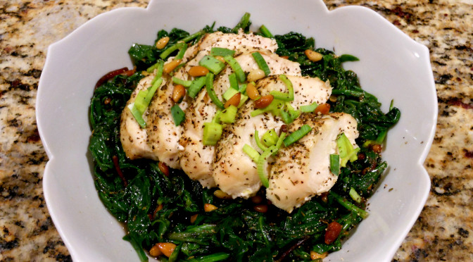 Sautéed Kale, Spinach, Chard & Pine Nuts with Herb Roasted Chicken Option (Allergy-Friendly Recipe)