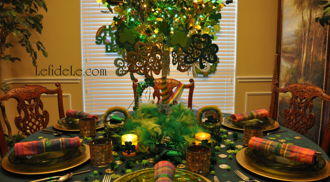 St. Patrick's Day Party Tablescape Décor Ideas (with Rainbows, Shamrocks, Money Tree, & Printable Card & Invite)