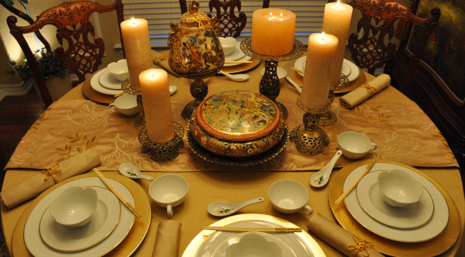 Elegant Chinese New Year of the Monkey Dinner Party Décor Tablescape Ideas