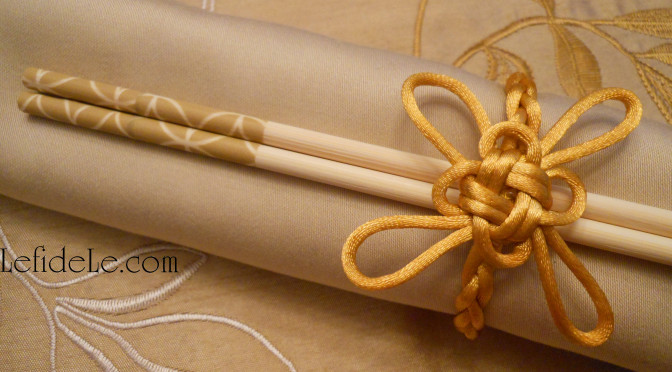 Traditional Chinese Good Luck Knot Craft Tutorial with DIY Plaited Napkin Rings & Washi Tape Decorated Chopsticks for Chinese New Year