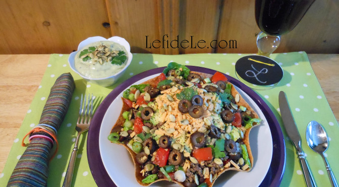Tex-Mex Filling Recipe for Taco Salad Baked Tortilla Bowls or Salad Tacos (with Gluten-Free & Vegan Options) with Creamy Cilantro Citrus Avocado Dressing (Dairy-Free)