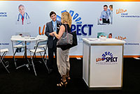 ASNC attendees visit the UltraSPECT booth at this year's event in September.