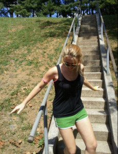 sinead going down the stairs